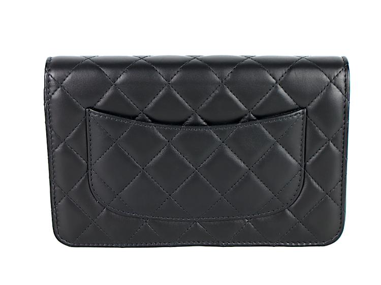 Chanel Svart Lammskinn WOC Clutch Väska