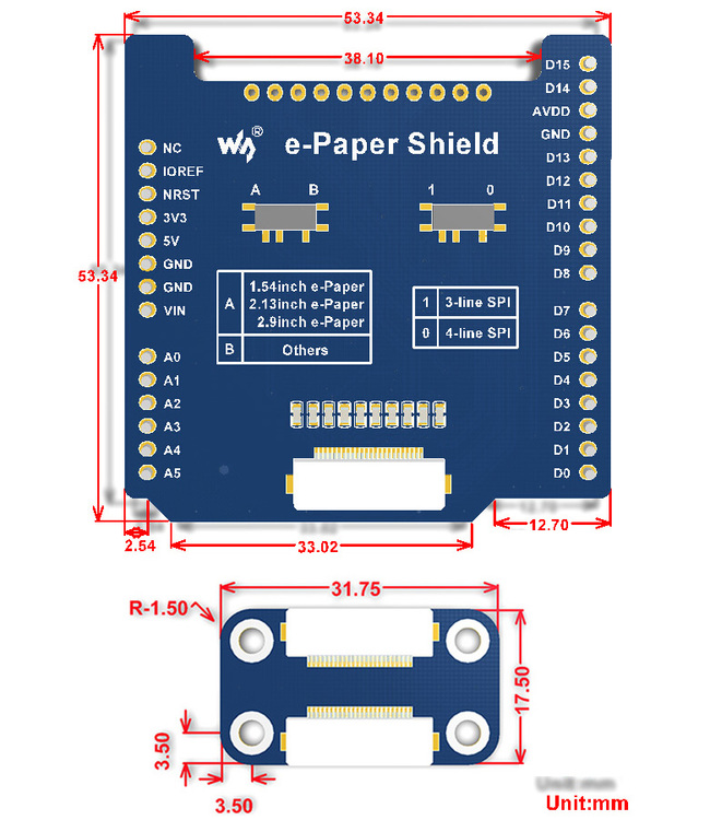 e-Paper Raw shield kit, kompatibel med Arduino