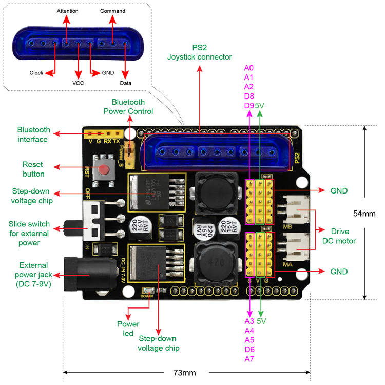 Keyestudio Arm robot kit styr med joystick och app, kompatibel med Arduino