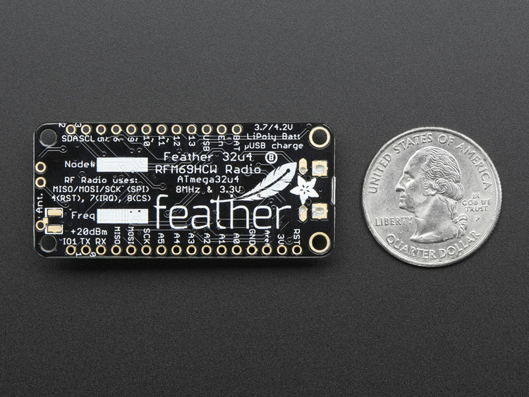 Adafruit Feather 32u4 with RFM69HCW Packet Radio - 433MHz - RadioFruit