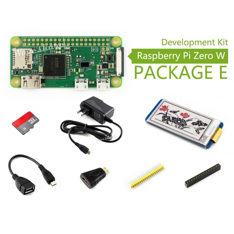 Raspberry Pi Zero W Kit E, with 2.13inch e-Paper HAT