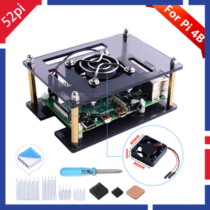 52Pi Acrylic Case Enclosure Cover for Raspberry Pi 4 Model B with Cooling Fan for Raspberry Pi 4B / 3B+ / 3B