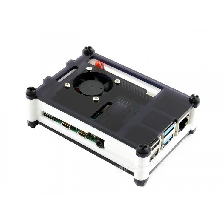Black White Acrylic Case for Raspberry Pi 4, with Cooling Fan