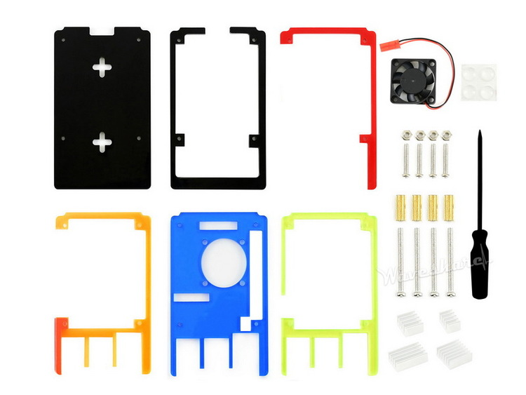 Colorful Rainbow Acrylic Case for Raspberry Pi 4, with Cooling Fan