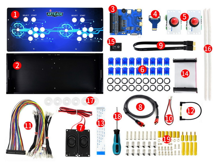 Arcade-C-2P Accessory Pack, 2 Players Arcade Console Building Kit