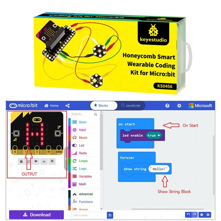 Keyestudio Honeycomb Smart Wearable Coding Kit for Micro:bit With 8 projects