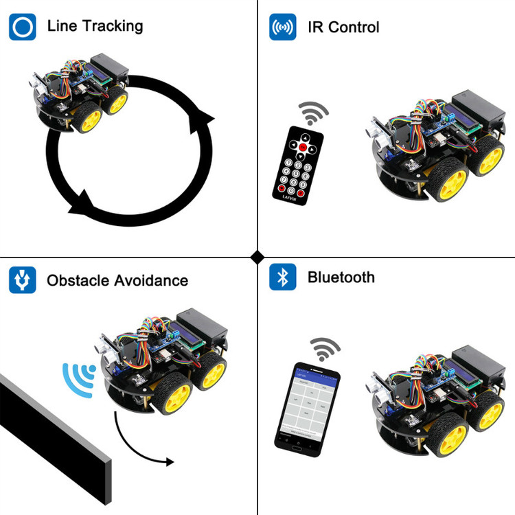 Multi-functional Smart Robot Car Kit compatible Arduinos with Tutorial