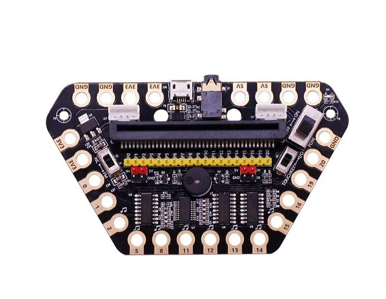 micro:bit expansion board with  buzzer and headphone jack for alligator clips