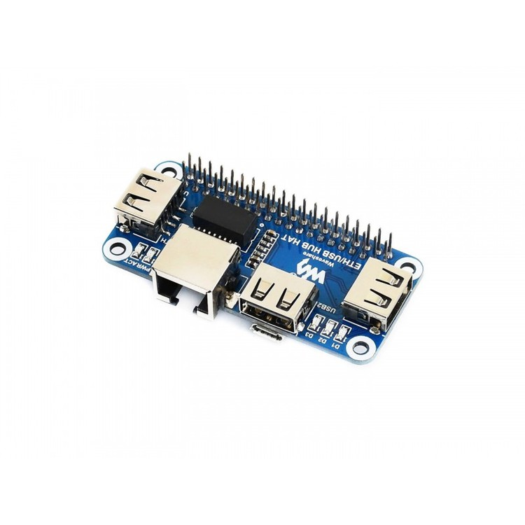 Ethernet / USB HUB HAT for Raspberry Pi, 1x RJ45, 3x USB