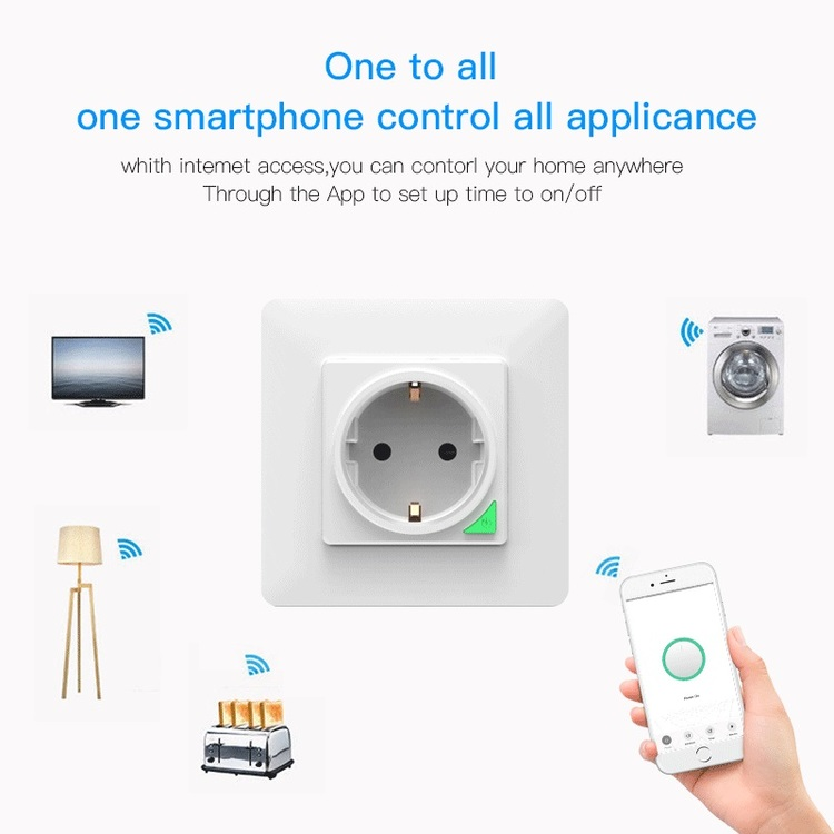Wall switch socket Smart wifi EU power socket work with Tuya Smart app
