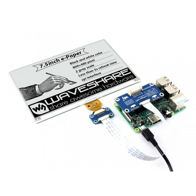 800×480, 7.5inch E-Ink display HAT for Raspberry Pi