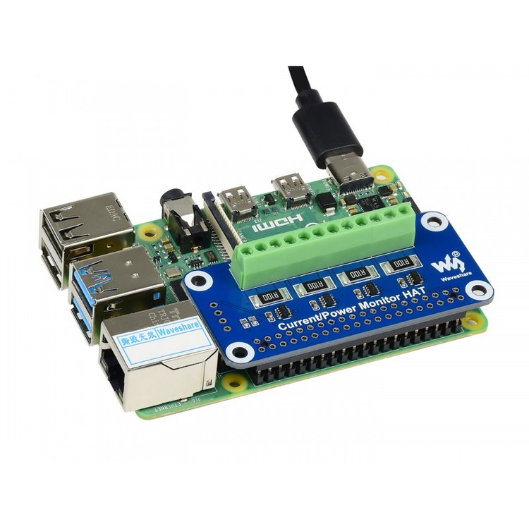 4-ch Current/Voltage/Power Monitor HAT for Raspberry Pi, I2C/SMBus