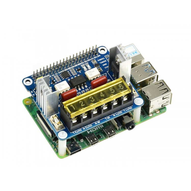 2-CH Triac HAT for Raspberry Pi, Integrated MCU, UART / I2C