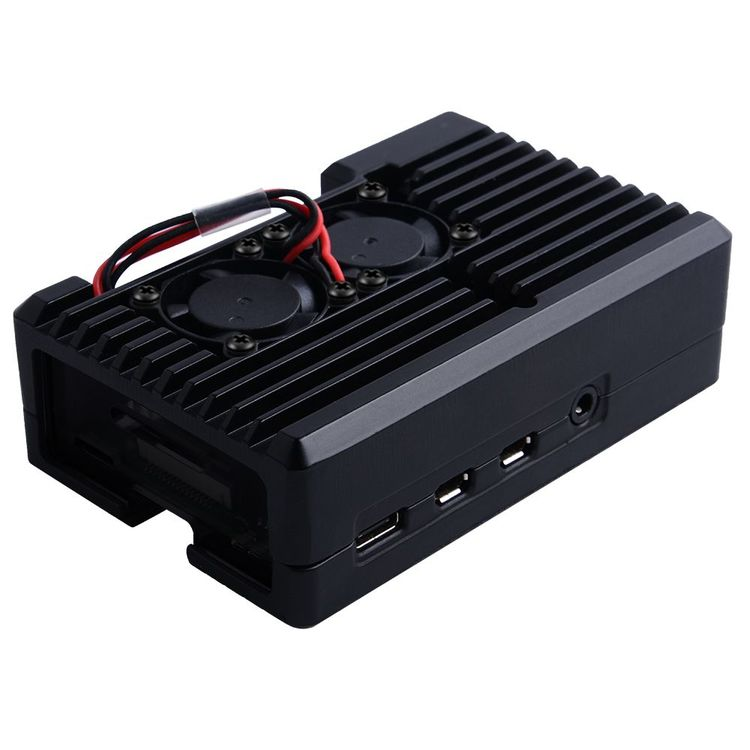 Aluminum Case with 2510 Dual Fan for Raspberry Pi 4