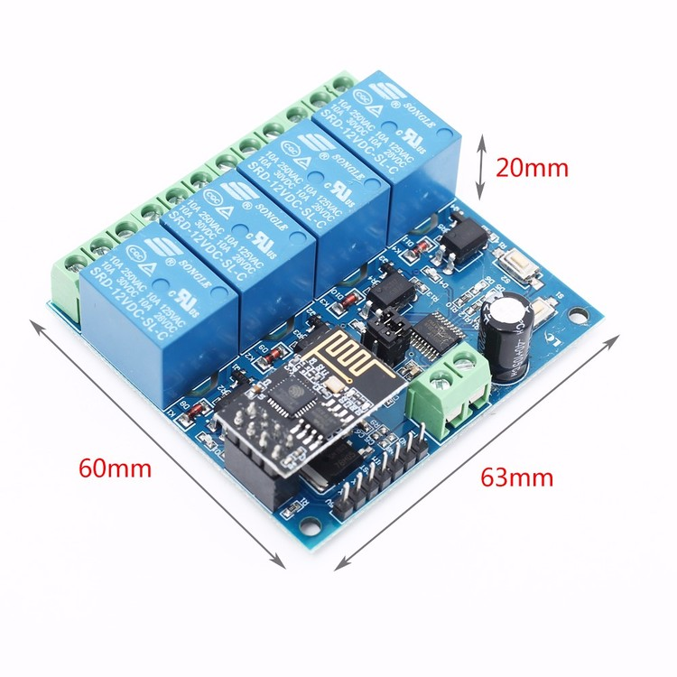 ESP8266 12V 4Channel WiFi Relay module Smart Home Phone APP Remote Control Switch