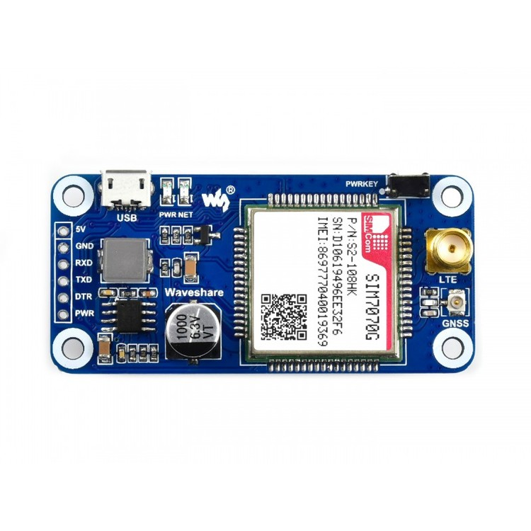 SIM7070G NB-IoT / Cat-M / GPRS / GNSS HAT for Raspberry Pi, global band support
