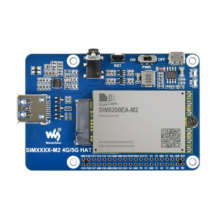 SIM8200EA-M2 5G HAT for Raspberry Pi, 5G/4G/3G Support