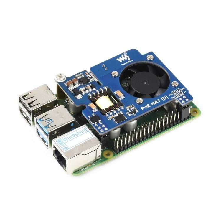 Power over Ethernet HAT (D) for Raspberry Pi 3B+/4B, 802.3af-compliant, Official case compatible