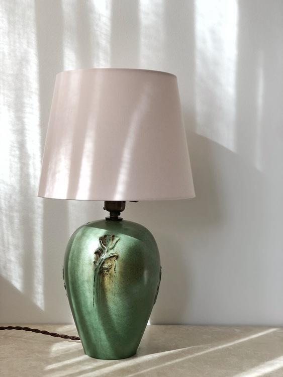 Nittsjö Scandinavian Modern Green Ceramic Table Lamp. 1960s.