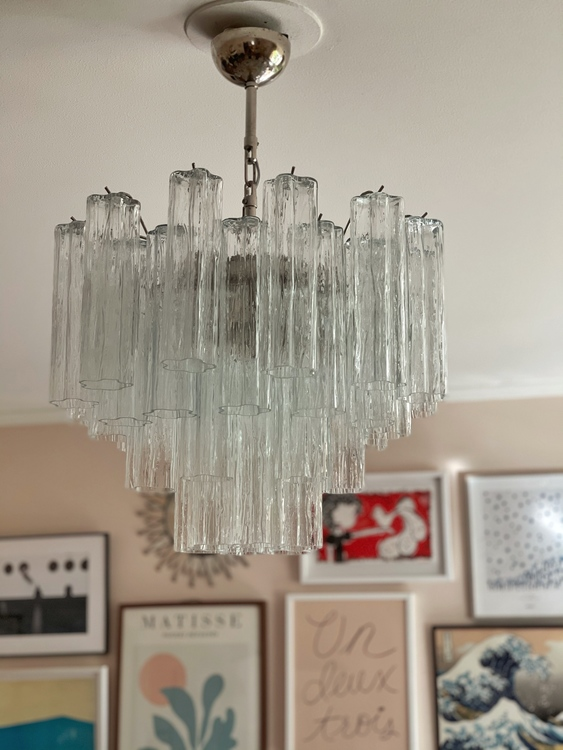 Murano Glass Chandelier with Tube Formed Prisms