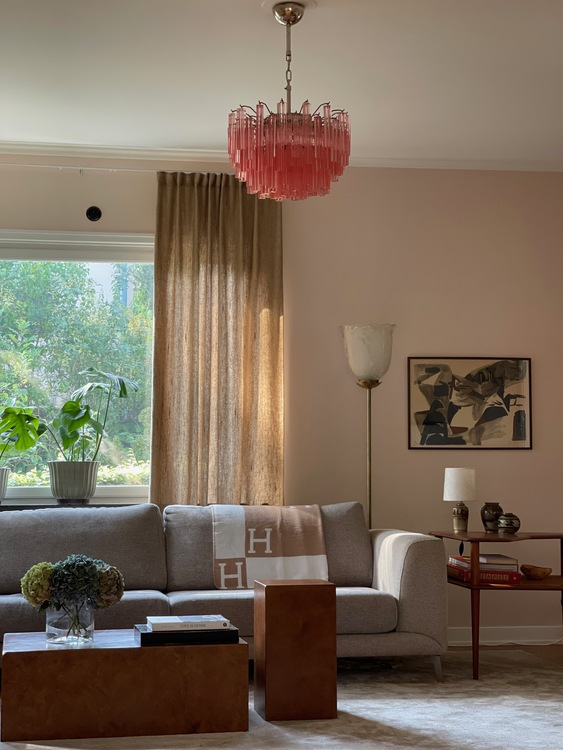 Pink Murano Crystal Chandelier. Medium size.