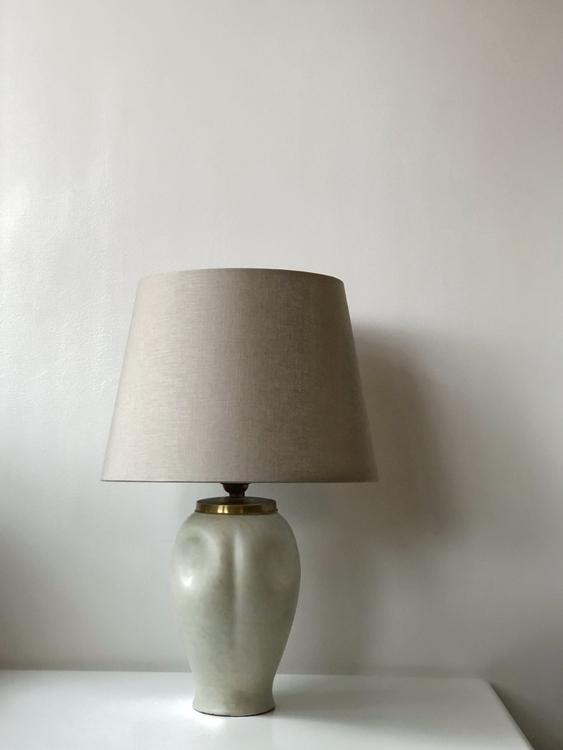 Uppsala Ekeby Scandinavian Modern Ceramic Table Lamp - egg shell pattern