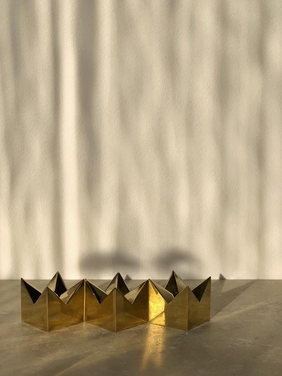 """Pierre Forssell trio Brass Candleholders """"Kronan"""" by Skultuna"""