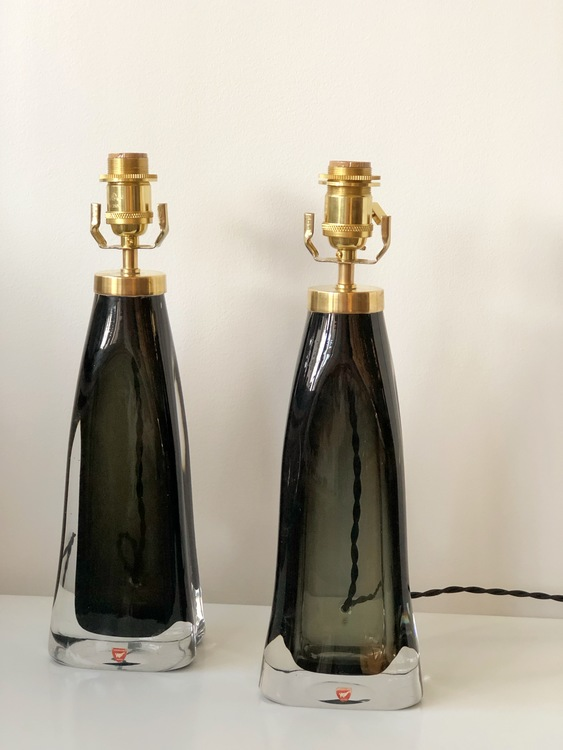Pair of Orrefors Table Lamps Green Glass model RD-1323