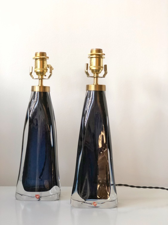 Orrefors pair of Crystal Table Lamps model RD-1323