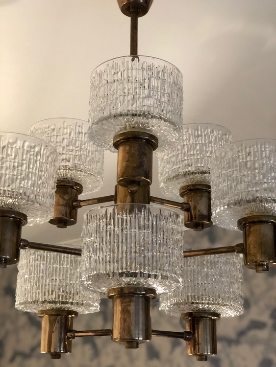 Hans-Agne Jakobsson 9-armed Chandelier with textured glass shades