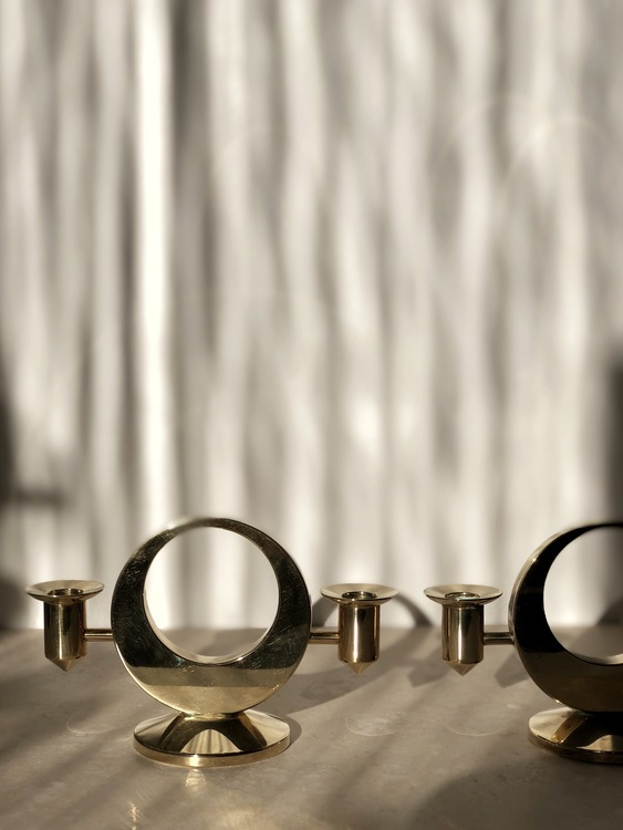 Kolbäck set of Rare Brass Candlesticks by Artur, 1950s