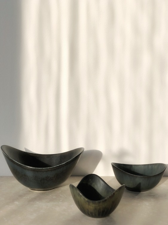 Gunnar Nylund trio Blue Biomorphic ARO and ASH stoneware bowls for Rorstrand