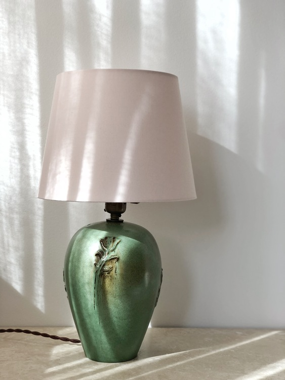 Nittsjö Scandinavian Modern Green Ceramic Table Lamp. 1960s.