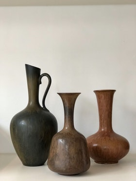 Gunnar Nylund set of Brown Stoneware Vessels for Rörstrand