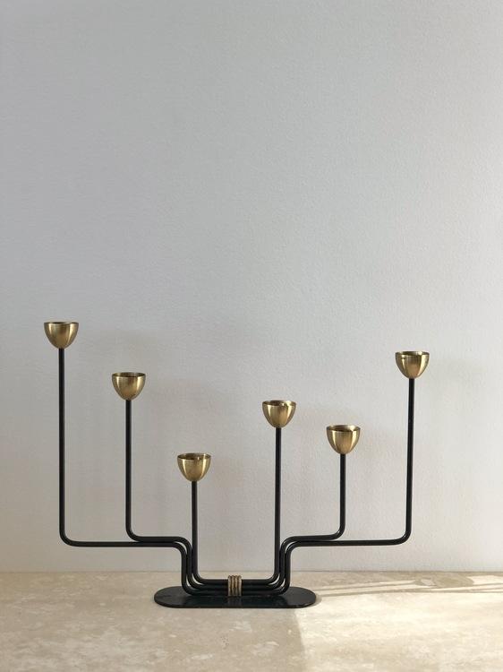 Ystad Metall 6-armed Candelabra Brass by Gunnar Ander