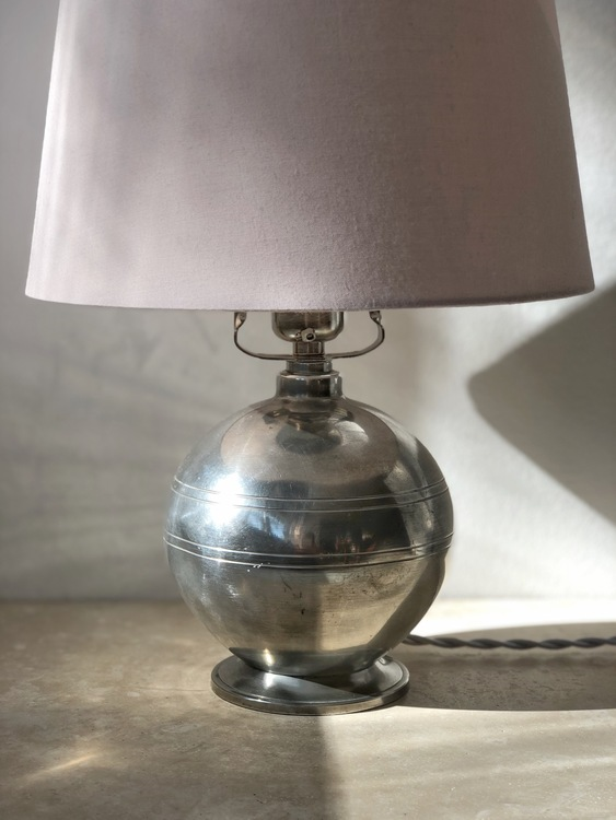 GAB Pewter Art Deco Table Lamp
