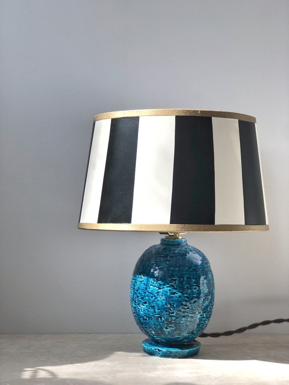 "Gunnar Nylund Blue ""Chamotte"" Stoneware Table Lamp"