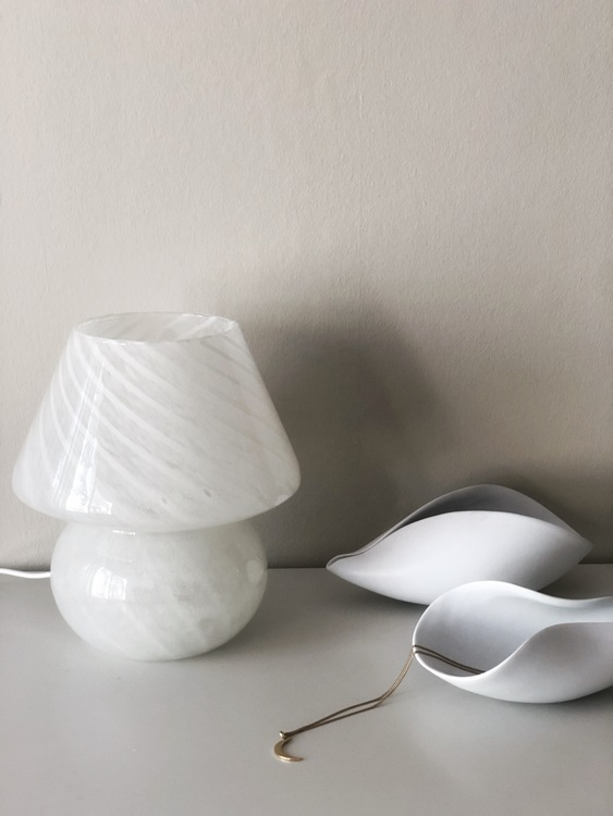 White Mushroom Table Lamp in the style of Murano 1970s.