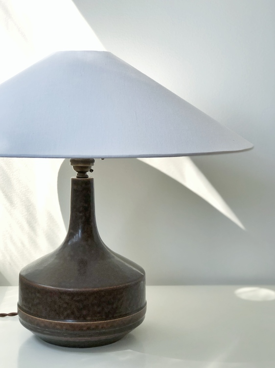 Désirée Stentøj Brown Ceramic Lamp. 1960s.