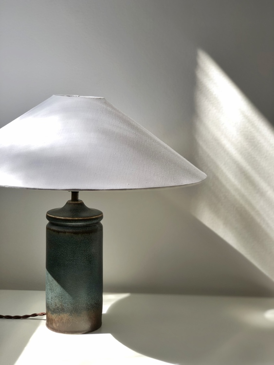 Carl Harry Stålhane Blue Stoneware Table Lamp for Rörstrand. 1960s.