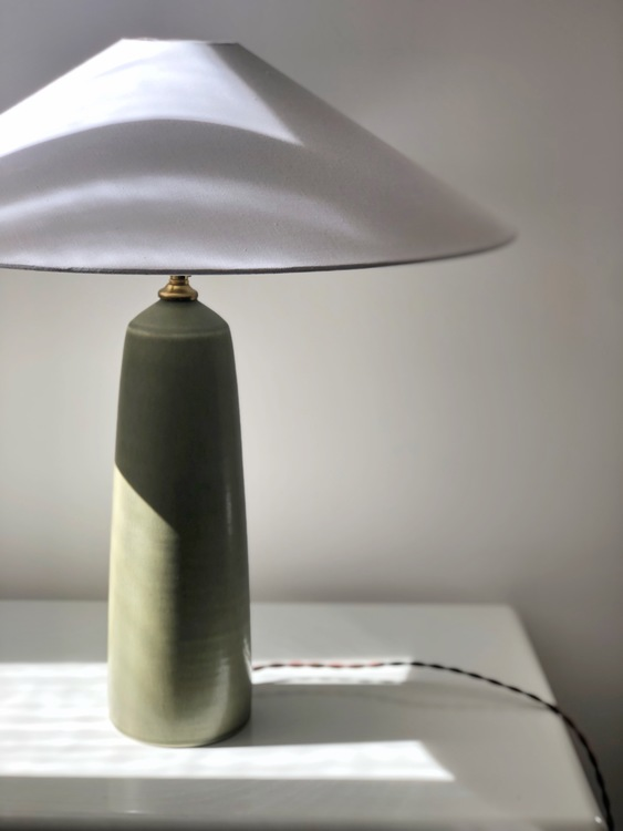 Palshus Green Stoneware Table Lamp. 1960s.