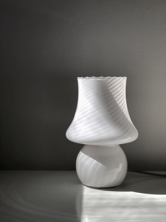 White Murano Mushroom Table Lamp. 1970s.