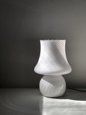 White Murano Mushroom Table Lamp. 1970s.