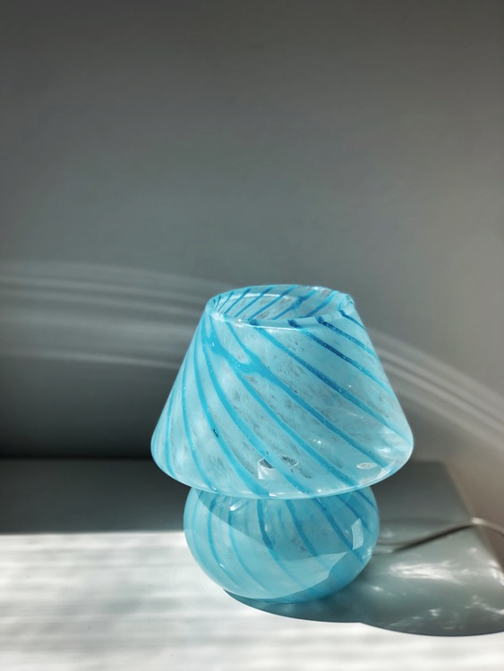 Blue Mushroom Table Lamp in the style of Murano 1970s.