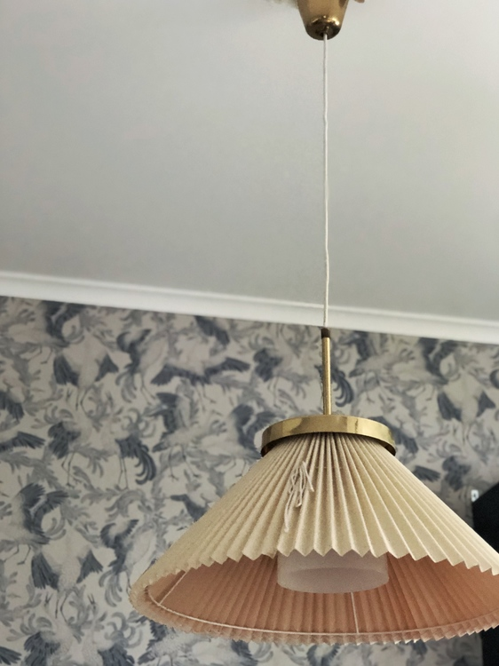 Bergboms Ceiling Lamp Pleated Shade and Brass. 1960s.