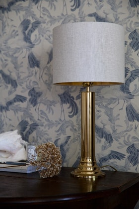 Pair of Scandinavian Modern Bergboms Brass Table Lamp