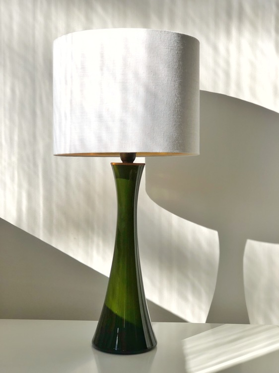 Bergboms Green Opaline Glass Table Lamps