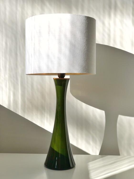 Bergboms Green Opaline Glass Table Lamps