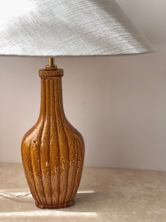 "Gunnar Nylund Sculpural Formed Mustard ""Chamotte"" Table Lamp by Rörstrand"