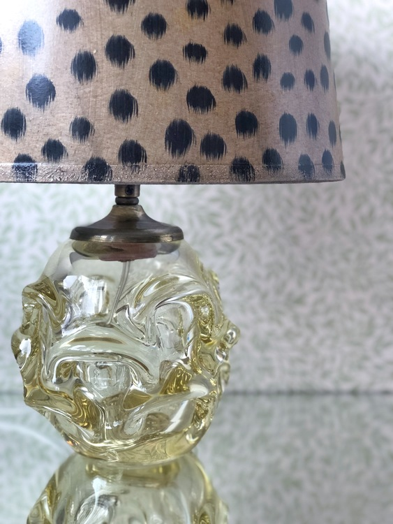Yellow Colored Glass Table Lamp, Swedish 1970s.